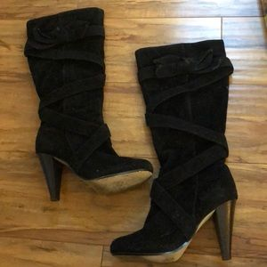 BAMBOO Knee High Suede Bow Accent Boots Sz 7